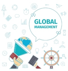 Global management concept vector
