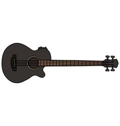 Black acoustic bass guitar vector