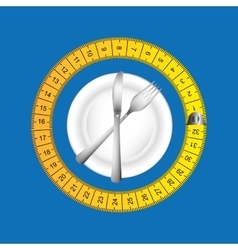 Plate and cutlery with tape measure vector