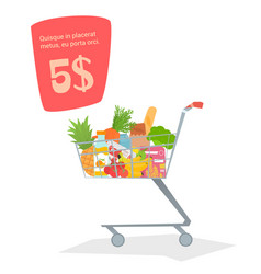 A trolley with food in the store vector