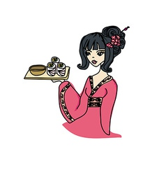 asian girl enjoys sushi vector image vector image
