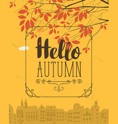 Banner with autumn urban scape and inscription vector