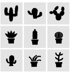 black cactus icon set vector image