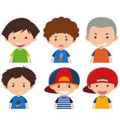 Boys with different facial expressions vector