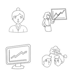 Businesswoman growth charts brainstorming vector
