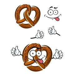 Cartoon pretzel with a happy smiling face vector