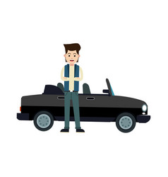 Character young man sport car standing vector