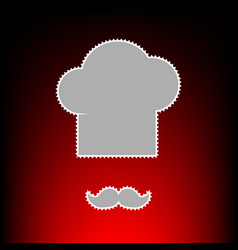 Chef hat and moustache sign postage stamp or old vector