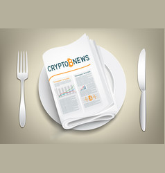 crypto currency newspaper on plate vector image