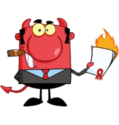 Devil boss holding a flaming bad contract vector