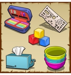 Five image set and tools of the first grader vector image
