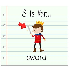 Flashcard letter s is for sword vector