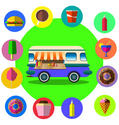 Food truck among palm trees on tropical beach vector