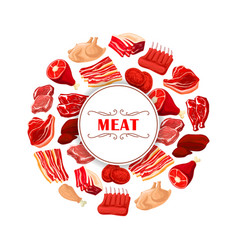 fresh meat cuts poster for food theme design vector image
