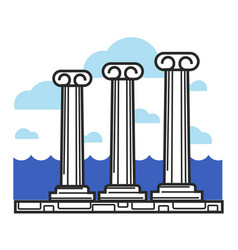 greek antique columns cyprus travel landmark vector image