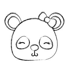 Grunge shy panda head female wild animal vector