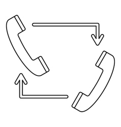 Handsets with arrows icon outline style vector image
