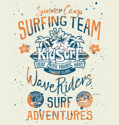 Kid surfing team hawaii pacific ocean vector