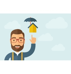 Man pointing the umbrella house icon vector image