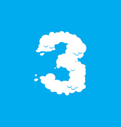 number 3 cloud font symbol white alphabet sign vector image vector image