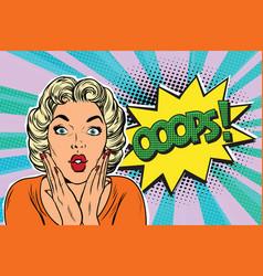oops pop art blond woman vector image vector image