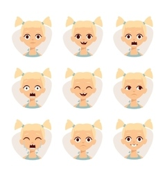 Smiley icons set of cute girls with different vector image