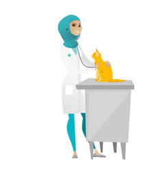 Veterinarian examining cat vector