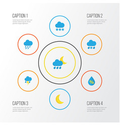 Weather flat icons set collection of drop moon vector