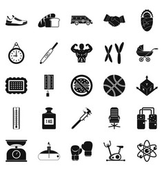 Weighing icons set simple style vector