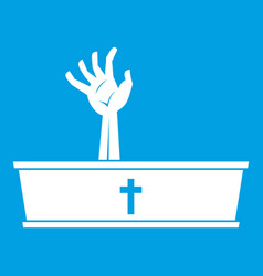 Zombie hand coming out of his coffin icon white vector