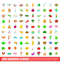 100 garden icons set cartoon style vector image