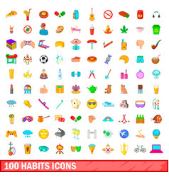 100 habits icons set cartoon style vector