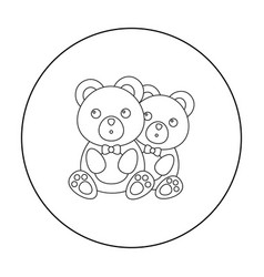 bears icon in outline style isolated on white vector image