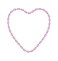 Pink chain in shape of heart vector