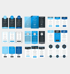 Collection of coloful pricing table design vector