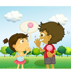A boy talking to a young girl with a lollipop at vector image