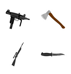 Ax automatic sniper rifle combat knife weapons vector