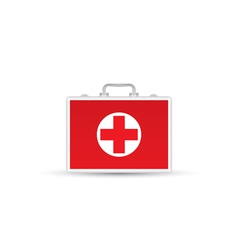 Red first aid kit isolated on white background vector
