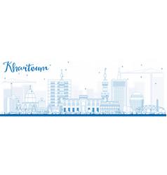 Outline khartoum skyline with blue buildings vector