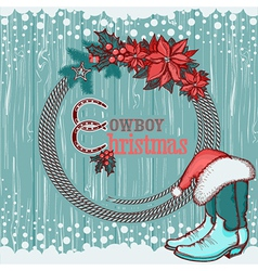 American cowboy christmas background on wood vector