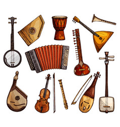 ethnic musical instruments sketches set vector image