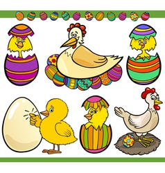 Easter chickens set cartoon vector
