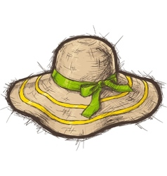Straw beach hat vector
