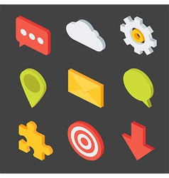 Isometric business icons set vector