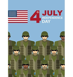 4th july American independence day Soldiers with vector image vector image