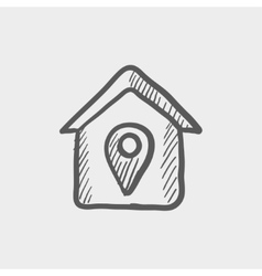Location of the house sketch icon vector