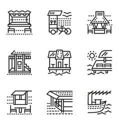 Cafe and bungalows simple line icons vector