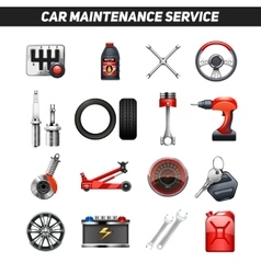 Car maintenance service flat icons set vector
