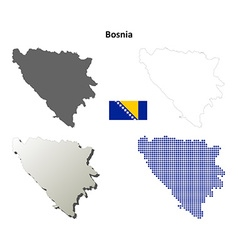 Bosnia and herzegovina outline map set vector