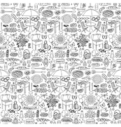 Barbecue party doodle seamless pattern vector